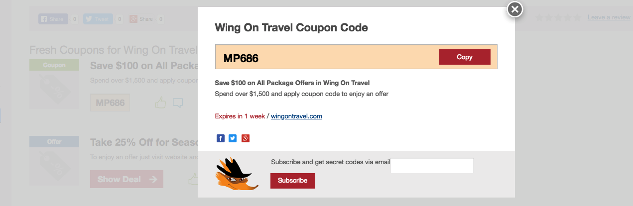 wing on travel voucher code