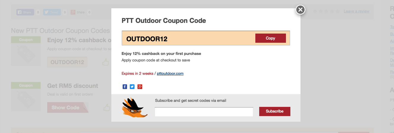 ptt outdoor promo code